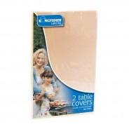 Cream Plastic Table Covers 120cm x 120cm (Twin Pack) 2