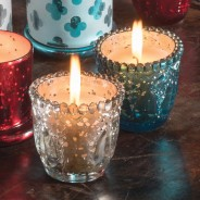 Embossed Glass Indian Votive Candle 1