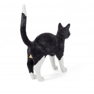 Seletti Jobby Cat Rechargeable Lamp 4 Black and White Cat