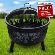 Flames Fire Pit & BBQ Grill With Rain Cover by Fire & Dine  1