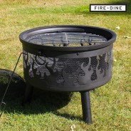 Flames Fire Pit & BBQ Grill With Rain Cover by Fire & Dine  14