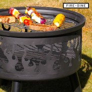 Flames Fire Pit & BBQ Grill With Rain Cover by Fire & Dine  9