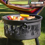 Flames Fire Pit & BBQ Grill With Rain Cover by Fire & Dine  5 Free BBQ Grill & Poker