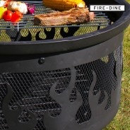 Flames Fire Pit & BBQ Grill With Rain Cover by Fire & Dine  12