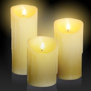 18cm Flickabright Wax Drip Candle 3 Flickabright LED Candles in assorted sizes