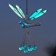 Flutter Glow Springy Pendant 3 Blue Glow Dragonfly
