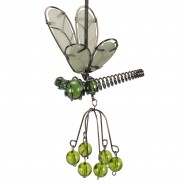 Flutter Glow Springy Pendant 5 Green Dragonfly