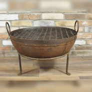 Genuine Indian Iron Kadai Fire Pit 60cm with BBQ Grill 1