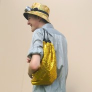 Gold Sequin Drawstring Backpack 3