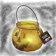 Halloween Pumpkin Glass Tealight Holder 1