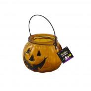 Halloween Pumpkin Glass Tealight Holder 2