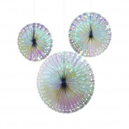 Iridescent Fan Decorations (3 Pack) 2