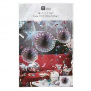 Iridescent Fan Decorations (3 Pack) 3