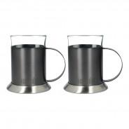 La Cafetiere Edited Set of 2 Glass Cups Gun Metal Grey 5