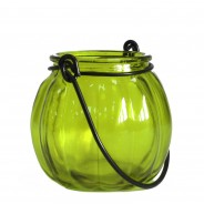 Recycled Glass Pumpkin Lantern 4 Green