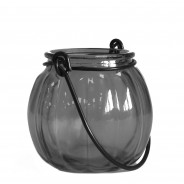Recycled Glass Pumpkin Lantern 5 Grey