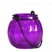 Recycled Glass Pumpkin Lantern 6 Lavender