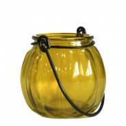 Recycled Glass Pumpkin Lantern 7 Yellow