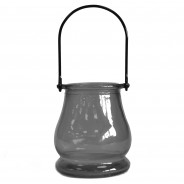 Recycled Glass Candle Lantern 5 Grey