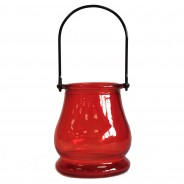 Recycled Glass Candle Lantern 6 Red