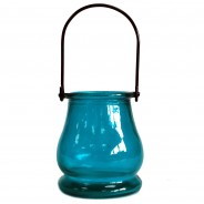 Recycled Glass Candle Lantern 7 Teal