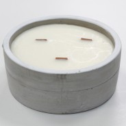 Large Concrete Soy & Woodwick Candle  5 Patchouli & Dark Amber