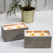 Large Concrete Soy & Woodwick Candle  2 Clove & Dark Sandal