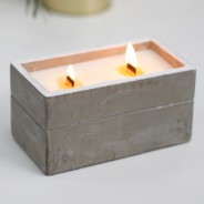 Large Concrete Soy & Woodwick Candle  3 Clove & Dark Sandal