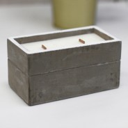 Large Concrete Soy & Woodwick Candle  4 Clove & Dark Sandal