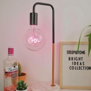 Copper Desk Lamp with Marble Stone Base 2 Pink Gin bulb not included