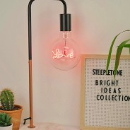 Copper Desk Lamp with Marble Stone Base 3 Love Bulb not included