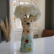 Large Leopard Head Vase 1