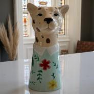 Large Leopard Head Vase 3