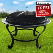 Meridian Fire Pit & BBQ Grill With Rain Cover by Fire & Dine  16