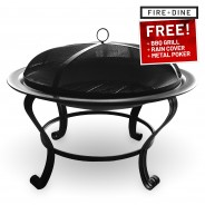 Meridian Fire Pit & BBQ Grill With Rain Cover by Fire & Dine  11
