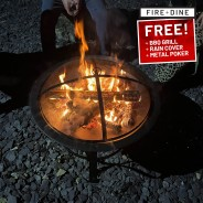 Meridian Fire Pit & BBQ Grill With Rain Cover by Fire & Dine  4