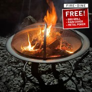 Meridian Fire Pit & BBQ Grill With Rain Cover by Fire & Dine  17
