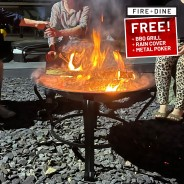 Meridian Fire Pit & BBQ Grill With Rain Cover by Fire & Dine  1