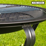 Meridian Fire Pit & BBQ Grill With Rain Cover by Fire & Dine  7 Free BBQ Grill & Poker