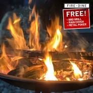 Meridian Fire Pit & BBQ Grill With Rain Cover by Fire & Dine  6
