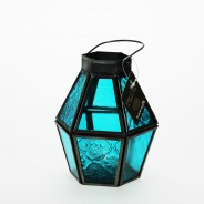 Mini Recycled Iron & Glass Lantern LT170 6 Blue
