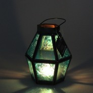 Mini Recycled Iron & Glass Lantern LT170 7 Blue