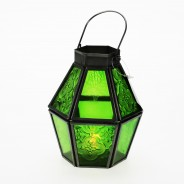 Mini Recycled Iron & Glass Lantern LT170 8 Green
