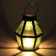 Mini Recycled Iron & Glass Lantern LT170 9 Green