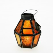 Mini Recycled Iron & Glass Lantern LT170 10 Orange