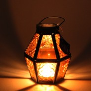 Mini Recycled Iron & Glass Lantern LT170 11 Orange