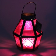 Mini Recycled Iron & Glass Lantern LT170 15 Pink
