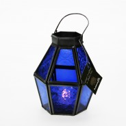 Mini Recycled Iron & Glass Lantern LT170 12 Purple