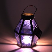 Mini Recycled Iron & Glass Lantern LT170 13 Purple