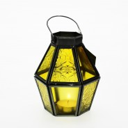 Mini Recycled Iron & Glass Lantern LT170 16 Yellow